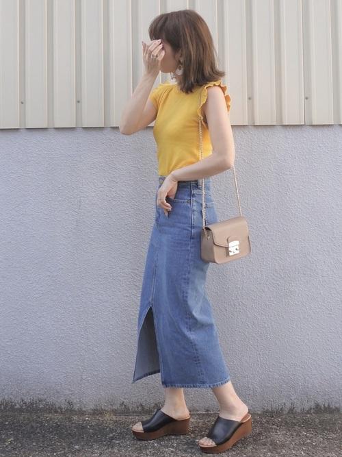 maamin♡のデニムロングスカートを使ったコーディネート