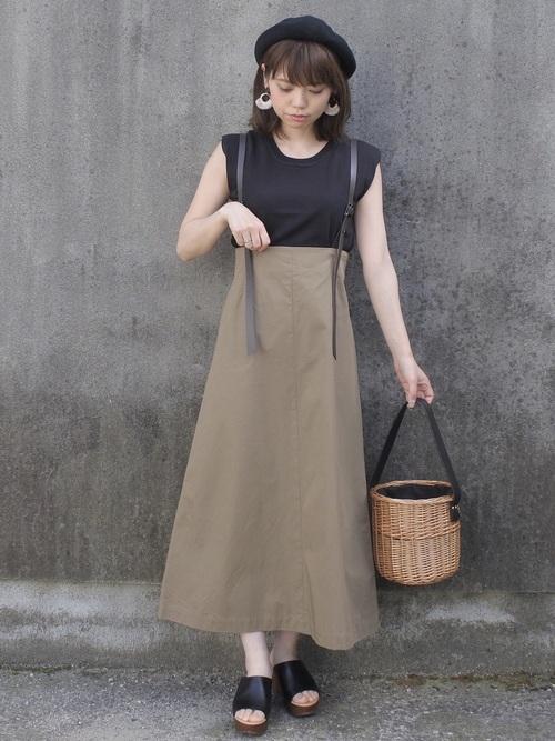 maamin♡のカーキー系ロングスカートを使ったコーディネート