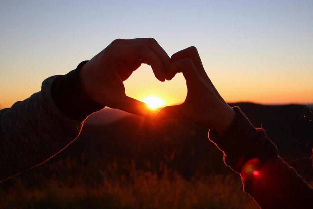 夕日にかざした手と手