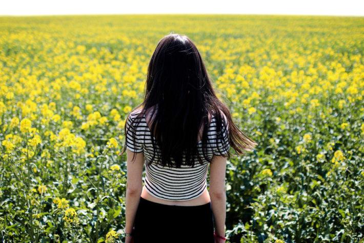 菜の花畑を見つめている女性の後ろ姿