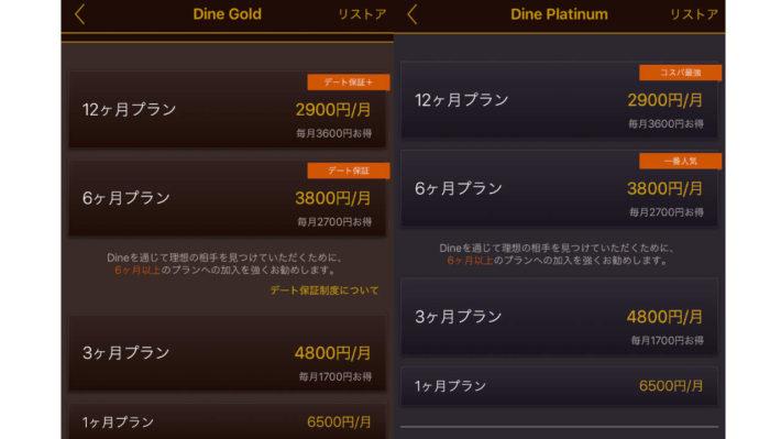 マッチングアプリ「dine」の料金表