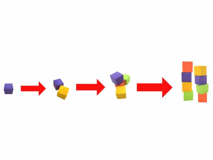 掛け算で増えていくブロックの画像