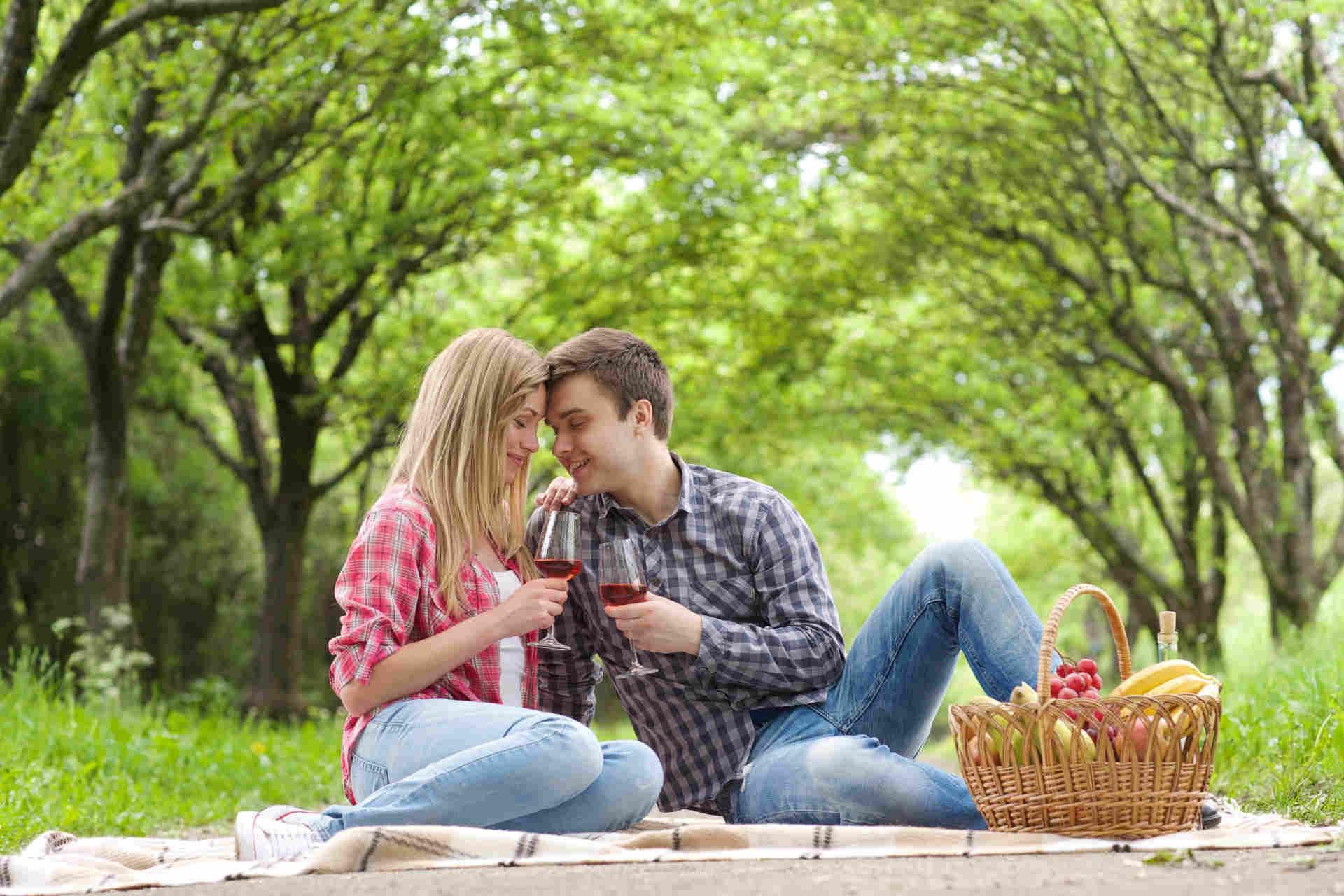 野外で広げたシートの上に座り、ワインを飲んでいる外国人の男女